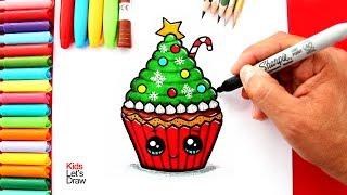 Aprende a dibujar un CUPCAKE DE NAVIDAD Kawaii | How to Draw a Cute Christmas Cupcake