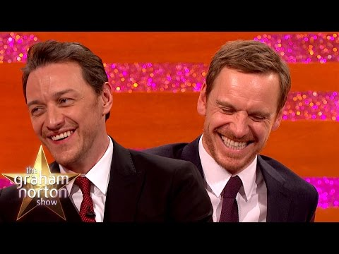 James McAvoy and Michael Fassbender Create Sexy  Art  The Graham Norton