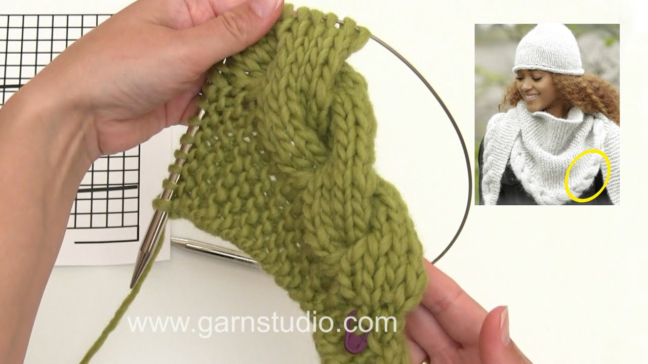 How to knit the cable edge in DROPS 172-10 - YouTube