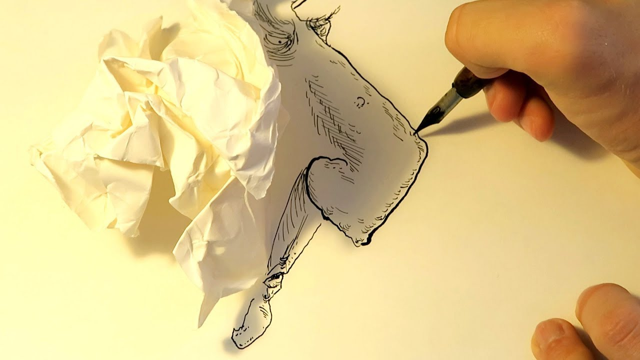 Easy Crumpled Piece Of Paper Drawing
