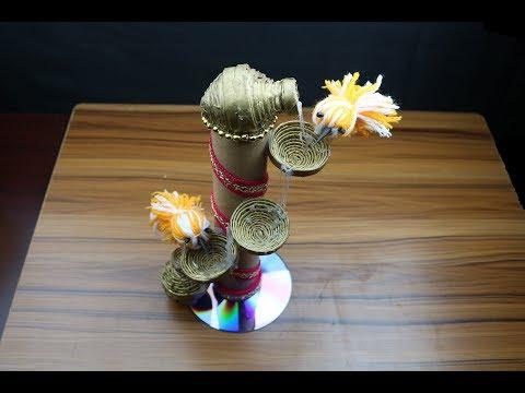 Newspaper craft idea 👌 Diy Newspaper waterfall showpiece 👌make a crafting water flow #beautycrafts