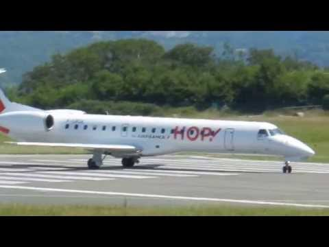 Decollage Hop Embraer 145 Biarritz airport ( LFBZ)
