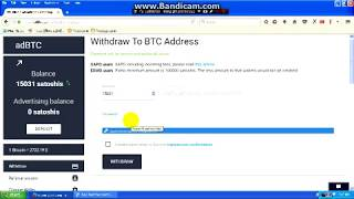 Rút 15000 Satosi - Withdrawal trang web : adbtc . top