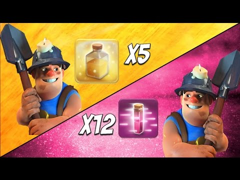 Miner Tournament: Heal vs Haste Spell Clan   55 x All Mass Miner Attacks   Clash of Clans
