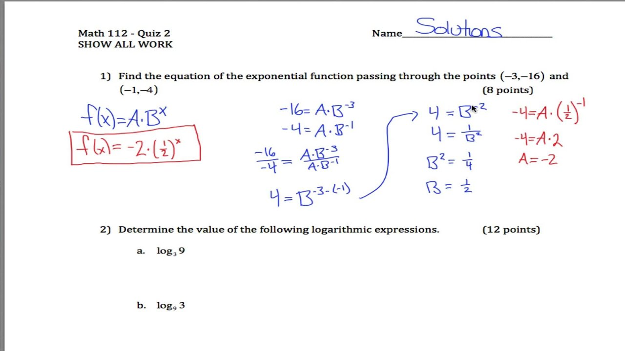Log And Exponent Quiz