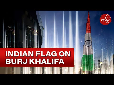Indian Flag on Burj Khalifa & Dubai  Water Show