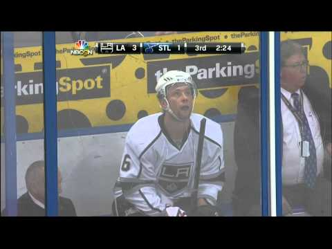 Jake Muzzin elbow to Vladimir Sobotka LA Kings vs St. Louis Blues 1/16/14 NHL Hockey