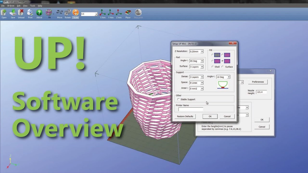 up 3d printing software overview 2015 youtube. Black Bedroom Furniture Sets. Home Design Ideas