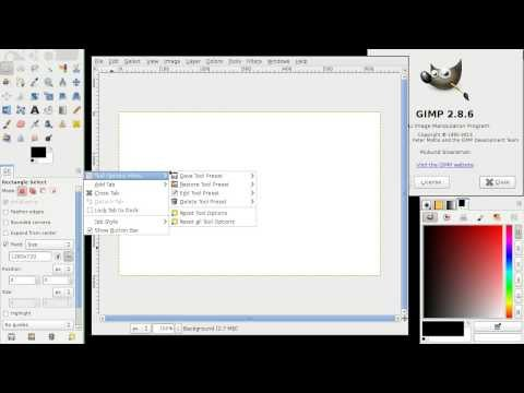 GIMP Tool Preset for predefined Selection Aspect ratio, Size, or Width