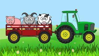 Трактор на ферме везет в прицепе домашних животных. Голоса животных. Видео для детей