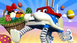 SURPRISE EGGS : The easter bunny - Carl the Super Truck Car City & Monster Town ! Trucks Cartoons