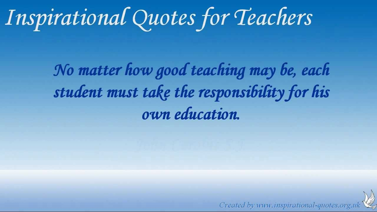 Inspirational Teaching Quotes Prepossessing Inspirational Quotes For Teachers  Youtube