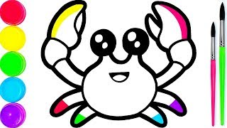 Glitter Rainbow Crab coloring and drawing for Kids Toddlers Кис Кис