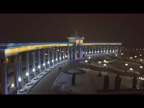 Almaty President's Park night e-bike ride drone video