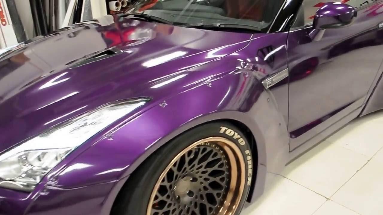 Car Wrap Gloss Midnight Purple Liberty Walk Nissan Gtr By Wrap Workz Hong Kong Youtube