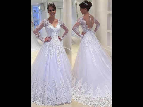 a-line/princess-applique-v-neck-court-train-tulle-wedding-dresses---hebeos
