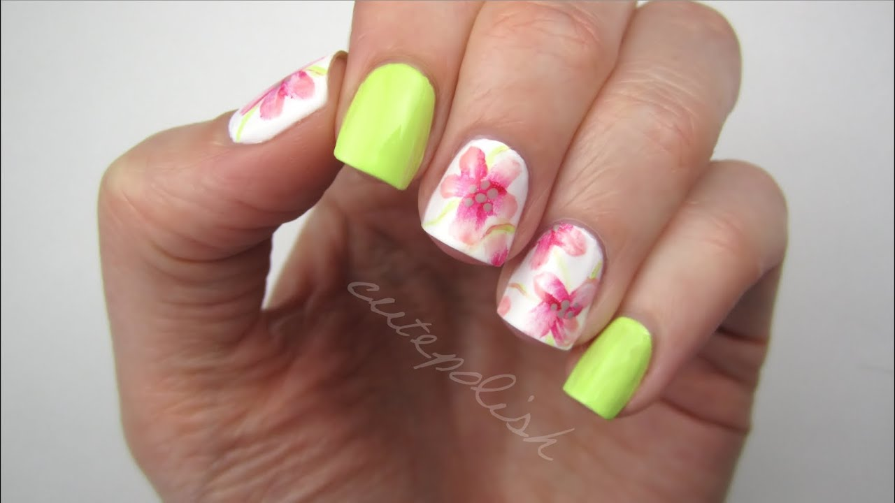 Watercolor Flower Nails - YouTube