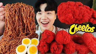 ENG SUB) ASMR MUKBANG TRUFFLE OIL BLACK BEAN NOODLES & CHEETOS FRIED CHICKEN WINGS SOUND!