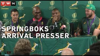 Makazole Mapimpi, Cheslin Kolbe and Francois Steyn spoke to the media after arriving at O.R. Tambo International Airport on Tuesday afternoon following their Rugby World Cup win. They were accompanied by Sports Minister, Nathi Mthethwa.