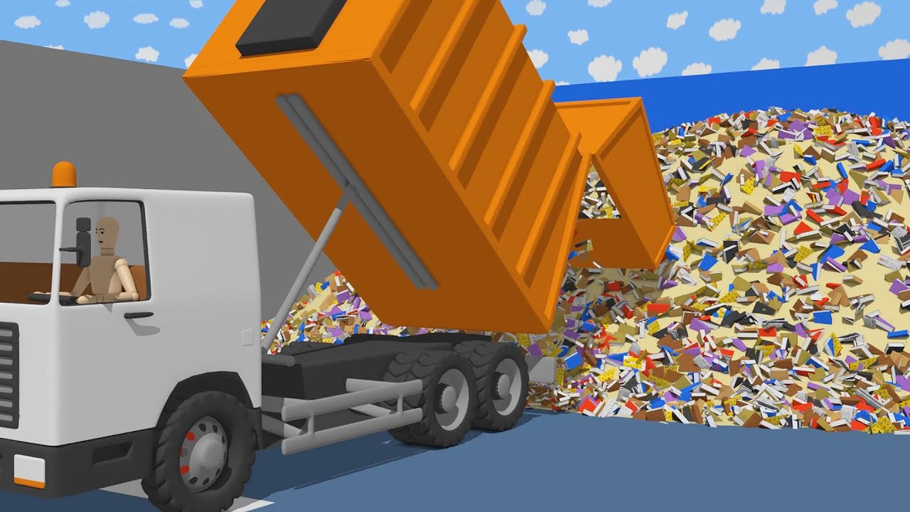 Orange Garbage Truck and Garbage Segregation | Animated Commercial Vehicles | Wooden Toys