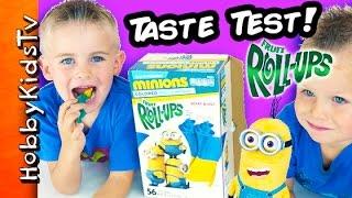Minions Fruit Roll-ups Taste Test! Hobbyfrog + Hobbybear Hobbykidstv
