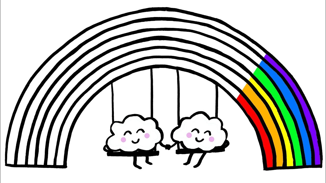 How to Draw a Rainbow and Clouds Coloring Pages Kids Songs Learn Drawing  Art Colours for Children