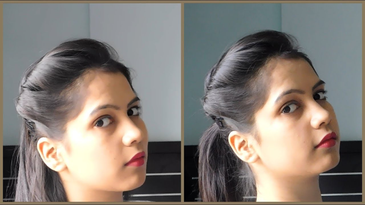 how to make side puff hairstyle with tips and tricks   1 minute side puff with ponytail hairstyle