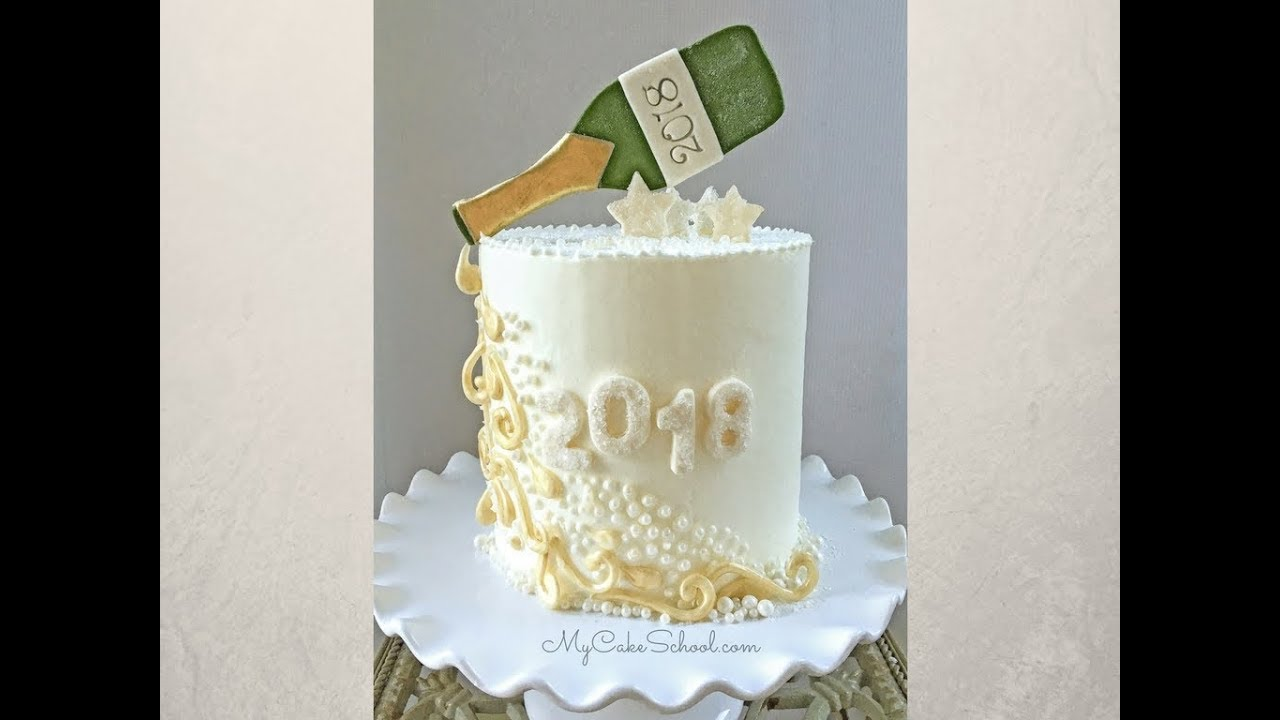 New Year S Eve Champagne Themed Cake Tutorial Youtube