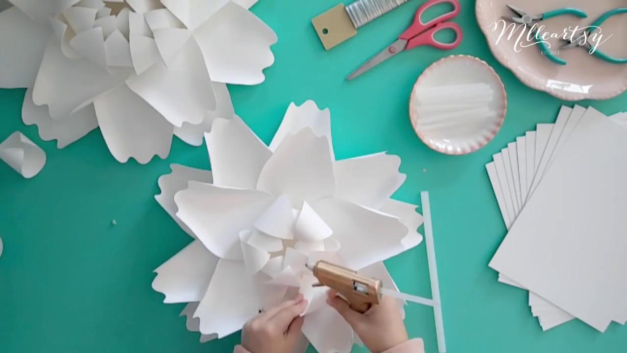 Diy Tutoriel Fleur En Papier Geante Pivoine Paper Flower Tutorial