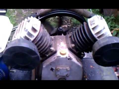Synthetic Blend Oil >> Air compressor gas engine HOMEMADE Harbour Freight V- twin - YouTube