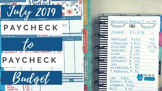 Paycheck to Paycheck Budget July 2019 | Happy Planner Budgeting