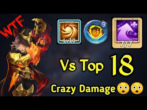 Hot Shot Vs Top-18😲😲 | 10/10 Sacred Light | 7/7 Hyper Strength | Insane Damage | Castle Clash