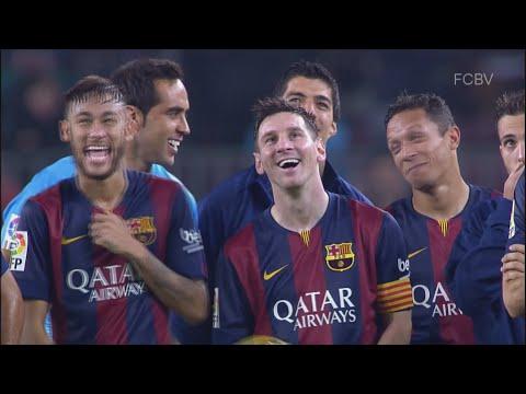 Messi se ríe del caño a Milner en el Camp Nou // Messi laughs panna Milner