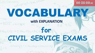 VOCABULARY for civil service exam: 30-second exercises with explanation