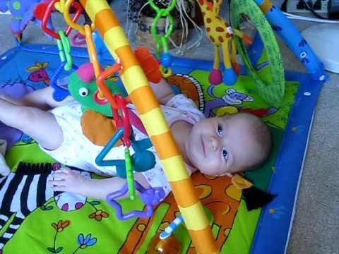 baby playing in a baby gym activity mat youtube. Black Bedroom Furniture Sets. Home Design Ideas