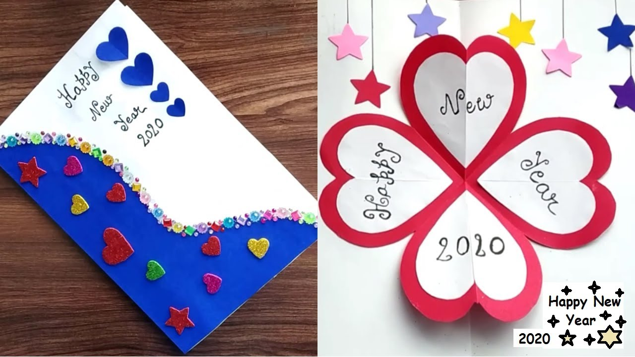 Diy Very Easy New Year Pop Up Greeting Cards How To Make New Year Card At Home Craft