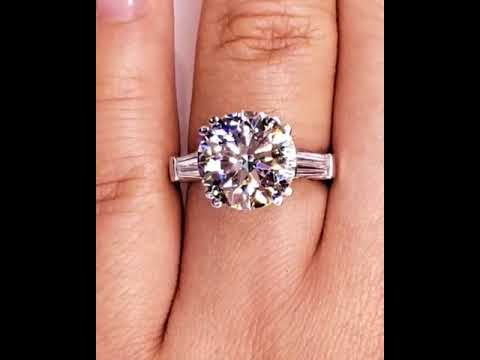 acf2ae1e90bc76 3.4 Ct Brilliant Cut & Baguette Cut Three Stones Sterling Silver Engagement  Ring
