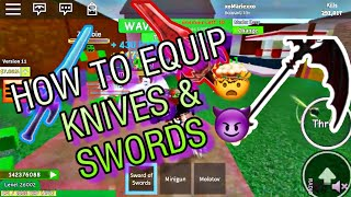 ZOMBIE ATTACK 101: HOW TO EQUIP SWORDS & KNIVES⚔☑️ ROBLOX