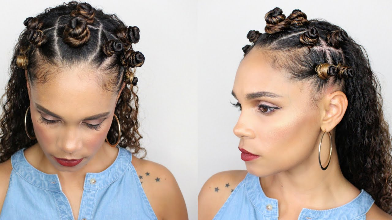 Natural Hair Easy Bantu Knots On Long Curly Hair Youtube