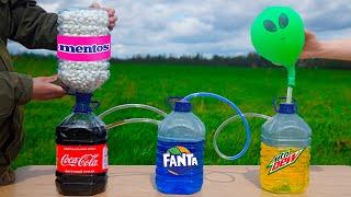 Experiment: Coca Cola & Fanta & Mountain Dew VS Mentos. Domino Shain Reaction!