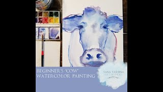 Cow acrylic painting tutorial in acrylic
