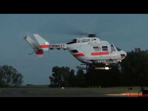 [HD] Offshore Rescue Bk 117 Air Ambulance 02 DHDSR landing at  sunset