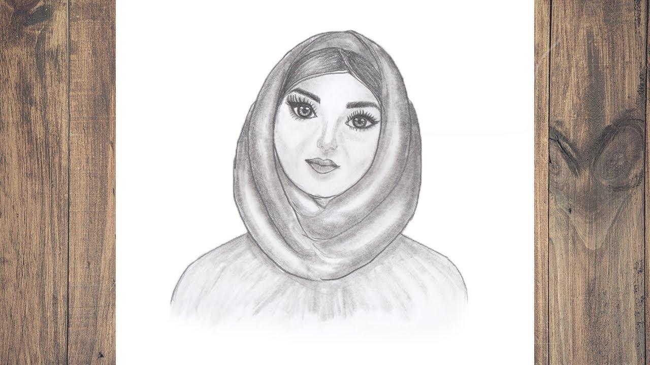 Hijab girl pencil sketch pencil sketch drawing