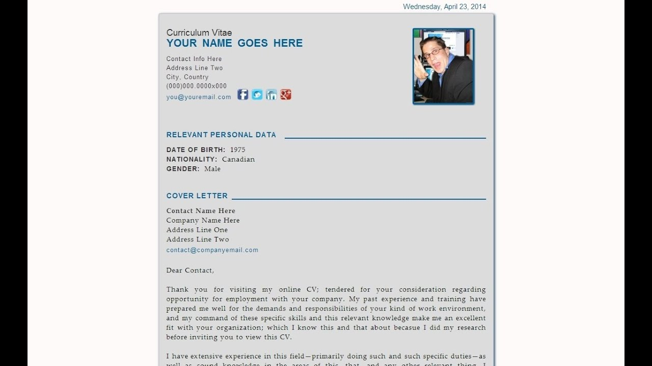 The Curriculum Vitae Personal Data Sheet Html5 Webpage Template