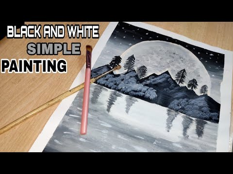 Simple / Black & White Landscape Painting for Learning / Acrylic Painting Technique…