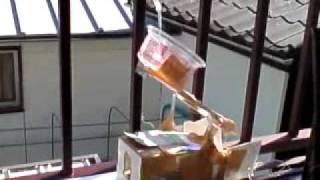 雨水が溜まると、ブザーとランプでお知らせします。(2009年12月/制作...