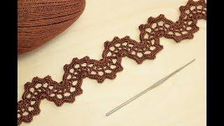 "Ленточное кружево ""ВОЛНА"" вязание крючком Crochet Lace Braid Ribbon Tape Tutorial"