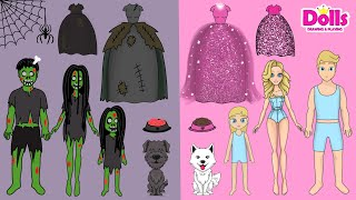 PAPER DOLLS ZOMBIE TRANSFORMATION GOOD & BAD HOUSE FAMILY DRESS UP