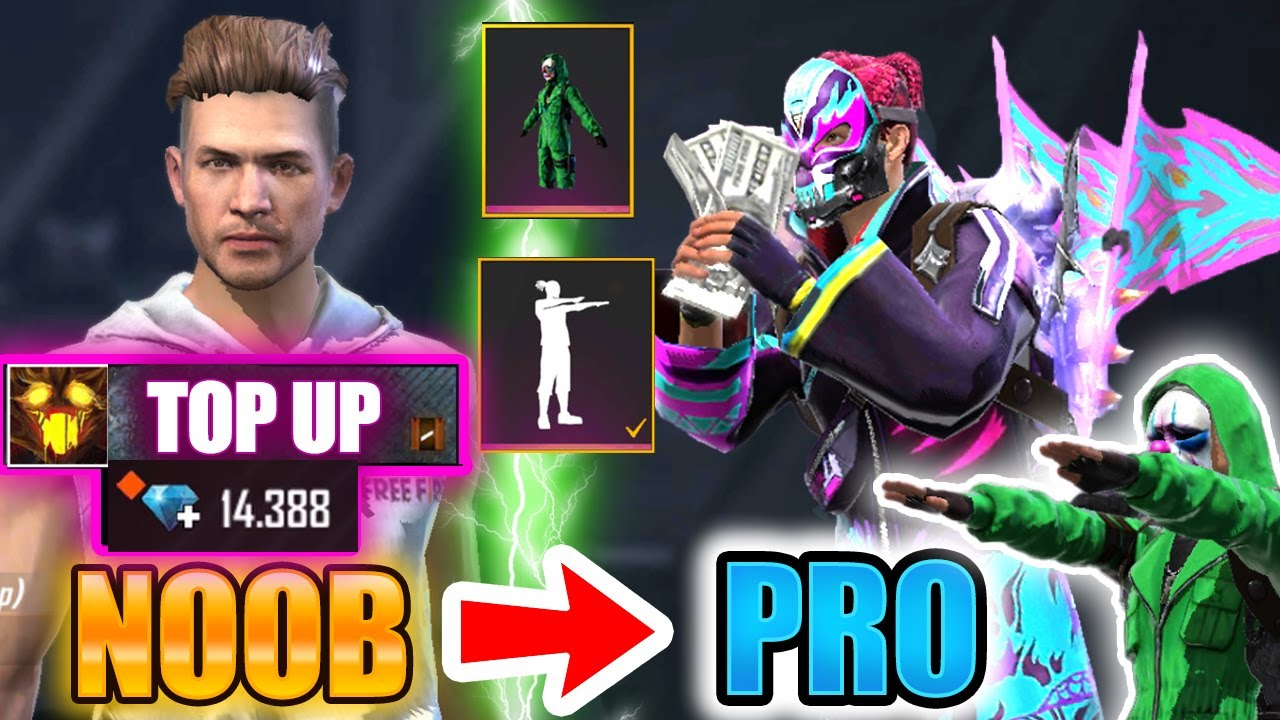 Free Fire new account to *PRO* 14k diamonds - look how it became😱🔥