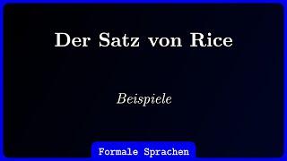 Satz Von Rice Beispiele Youtube